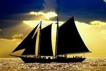 Romancing the sea..the sails.: ..boat, hull creaking, mast, rope, sail.... /  sea breeze and salt in hair; Bon voyage...where ever the journey takes, traveler all packed and rearing to go... / by Penny Christie