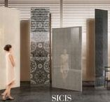 Sicis Vetrite /  A natural evolution from mosaic to large surface coverings. Sicis iconic fabrics and polymer films are here sandwiched between two fine glass slabs. Vetrite provides the freedom to think about cladding without any kind of constraints in style.