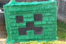 Minecraft party / Minecraft party. I spent a lot of time thinking of games. So i used old boxes painted and toilet rool inners for TNT i printed a banner and hung it up.
