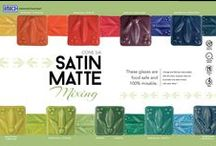 AMACO Satin Matte (Cone 5/6) / Satin Mattes break slightly over edges and texture and boast a soft satin feel. These glazes are formulated to be 100% mixable (except for Orange and Red, which have a different base.) Use Clear Satin to lighten color tones, Satin Black to create shades, and Satin White to create tints.