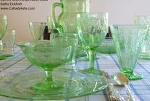 Depression and Elegant Glass / Depression glass is machine produced glass made in America from the mid 1920's through the 1930's.  Elegant glass was a bit more upscale, with finishing touches by hand. American made machine pressed glassware, whether pressed or elegant, continued to be produced in abundance up until the 1970s.  Just a few companies to make this glass: Hazel Atlas, Cambridge, (Anchor) Hocking, Tiffin, Federal, Lancaster, etc.  See http://en.wikipedia.org/wiki/Depression_glass for more information. / by Lorie Long