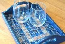 CRAFTS - Tray/Trivet Ideas / Easy craft project by adding tile.