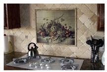 KITCHEN - Mural Ideas / Inspiration for adding a accent mural or mosaic above your stove, or sink or...