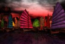 2015 Vallacia / Vallacia (by Mayah Parx) – A floating market town, a bustling trade hub where denizens of the Fairelands come to trade for even the most obscure of items. Dark & weatherbeaten, all matter of constructions crisscross the waters to keep this hodgepodge of shacks,stalls and barges afloat. Magical mysteries abound in this haven for traders and thieves alike. / by Fantasy Faire