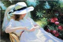 Vladimir Volegov Paintings / Vladimir Volegov, 1957. Born in Khabarovsk, Russia, Vladimir began painting at the age of three and his talent would be noted repeatedly throughout his adolescence. Vladimir is famous for his figurative paintings with his dramatic use of color and texture he creates a portrait-like treatment of the female form, captured in a frozen, yet living moment, with the surrounding bursts of color and scenery. / by Imagine the Art