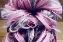 planning for hairchange / So much more gray hair, turning 60, do not want to be dull, so do some looking, planning and trying - currentluy my hair on top is purple, underneath my own black hair. / by Aletta Mes