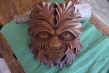 green men I / zelený muž ve dřevě