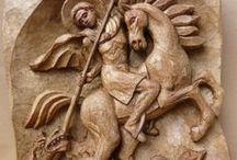 Carving - reliefs I / dřevěný reliéf s motivem lidské postavy