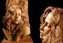 Carving - female face / dřevěné bysty a obličeje