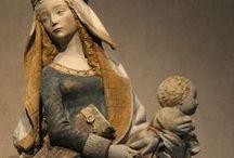 Madonna and child / žena s děckem ve dřevě a jiných materiálech