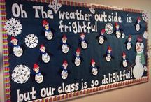 Winter & Christmas Bulletin Boards / Here you will find fun and easy DIY Christmas bulletin boards as well as winter themed ones. Some classroom bulletin boards and door decorations include: penguins, santa, reindeers, snowmen, fireplaces, elves, grinch, christmas trees, polar express, gingerbread men, presents, wreaths, candy, ornaments, and much, much more! Hope you enjoy, teachers!