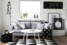 INTERIORS | Black & White / Black and white interior design concepts and decor.