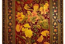 Gyllenlær / Gilt leather inspiration / Inspiration for gilt leather pattern - drawings, wallpaper and others....