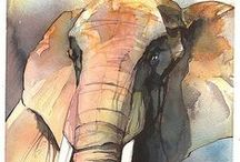 Elephant ART / Artwork with elephants as subject - #elephants #artwork #art