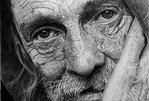 Portrait Illustration / Portrait and facial illustration in pencil, ink, color pencil, charcoal, graphite