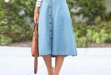 Midi / Comprimento Midi: saias, vestidos, bermudas, calças, etc