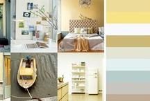 moodboard 3: Beach Love / A light colorpallette that was inspired by the beach. The greyish yellow and blue makes the interior calm but also fresh and light.  A stronger yellow will give the interior more contrast.