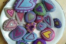 painted stone, quilling