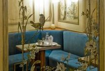 Sala Liberty - Liberty Room   Caffè Florian Venezia / The liberty Room is the smallest room in Florian. It was created in 1920 to celebrate the two hundred years of the Café and is decored in a Art Nouveau style.