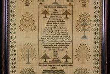 "Antique Samplers / I've often wondered what makes a sampler different from other needlework. I found the following definition at the beginning of a Wikipedia page on samplers. ""A (needlework) sampler is a piece of embroidery produced as a demonstration or test of skill in needlework. It often includes the alphabet, figures, motifs, decorative borders and sometimes the name of the person who embroidered it and the date.  / by Susan Stetz"