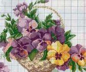 Flower basket - Cosuri cu flori / schite de cusut, broderie, goblen