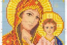 icoane - goblen / schita de cusut pentru goblen sau etamina matador modele religioase bisericesti : Maica Domnului cu Pruncul, cruce, Cina cea de Taina, icoane