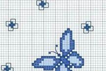 butterflies - fluturi - schmetterlinge / schite de cusut, cross stitch pattern, butterflies