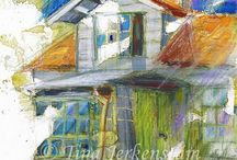 TecknarTina  My houses / Drawings and paintings....Houses