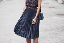 Black Midi Skirt - how to style / Black midi skirt how to wear. Outfits with a black midi skirt. / by Match Clothes Colors