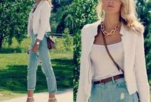 White blazer outfits - how to wear a white jacket / blazer / How to style a white blazer? What to wear with a white jacket? / by Match Clothes Colors