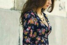 Florals on dark background (Autumn/Winter fashion) / Floral prints in fashionable outfits.