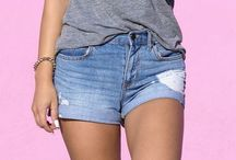Cut-off jeans shorts outfits / by Match Clothes Colors