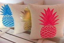 Pineapples! / Hand screen printed, handmade mini cushions....