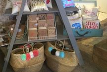 Feather and Nest & Mrs B Designs Ltd / Cushion and notebook display...looking fab!
