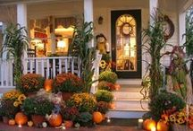 •●• Fall Porches •●• / Ideas for decorating for fall, including porch and patio decor, living room ideas, flower arrangements, and more.