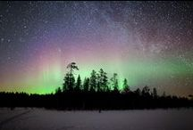 Northern Lights / Aurora Borealis in Lapland / Lappish people traditionally believed that the lights were the energies of the souls of the departed. When the fires blazed in the skies, people were to behave solemnly, and children were admonished to quiet down and be respectful of the fires.