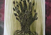 Linogravure / Linocut / Linoldruck / mes travaux et expériences en linogravure