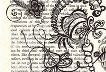Art with text / Art and painting that incorporates pages from books and other texts.
