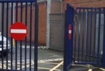 Bi-folding Speed Gates / The popular bi-folding speed gate is a fast acting security gate which is ideal for sites where there is a limited area for the gate to open and close. Bi-folding speed gates are available in various models including overhead track, bottom track or trackless. Secures a maximum aperture of 12m, heights up to 6m.  Bespoke available. http://www.frontierpitts.com/products/gates/speed-gates/