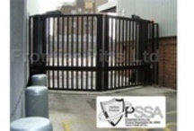 PAS 68 Terra V Gate / Hostile Vehicle Mitigation (HVM). The PAS 68 Terra V Gate is a pair of bi-parting hinged gate leaves that secure in a shallow 'V' shape.  Successfully impact tested to PAS 68 stopping a 7500kg vehicle travelling at 50mph (80kph) which equates to 1852kJ. Zero penetration on to site and product remained fully functional after impact. PSSA Verified. http://www.frontierpitts.com/products/gates/pas68-terra-v-gate/