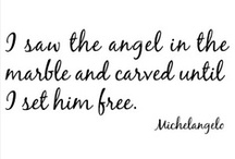 """Angel Statues, Cemeteries & Gravestones / """"I saw the angel in the marble and I carved until I set him free"""" ~ Michelangelo"""