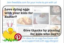 "Egg-less Easter / Easter for kids (in pop-culture, anyway) is all about eggs: deviled, dyed & hidden! We are calling on freedible's whole community of #customeaters to pull together crafts, games, projects & other ideas for an egg-less Easter to help our #eggfree members! Here's how to get your invite: (1) Create your free profile on freedible; (2) Join our ""freedible pinners"" group; (3) reply to our ""Egg-Less Easter"" discussion thread with your Pinterest handle. That's it - we'll send you your invite to pin! / by freedible"