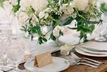 White Weddings / A selections of white bridal bouquets, centerpieces, wedding cakes etc