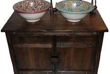 Dębowa szafka łazienkowa w stylu retro / Dębowa szafka łazienkowa w stylu retro