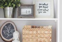 Decoração de prateleiras e estantes