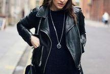 jacket & black leather