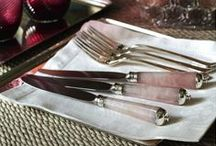 Prestige flatware / Cutlery conceived as pieces of jewellery, worked in sterling silver, exotic wood and semi-precious stones.