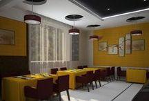 Гостиничная столовая / Интерьер гостиничной столовой разработан в современном стиле