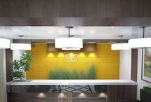 Ресепшн гостиницы / Ресепшн гостиницы выполнен в современном стиле в 2-х вариантах.