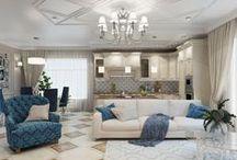 Дом на Гуселке (180 кв.м.) / Заказчики из #дом_на_гуселке хотели сделать дизайн только двух помещений кухни-гостиной и спальни для дочери хозяйки дома.   Интерьер выполнен в классическом стиле, с характерной симметрией.  Сайт: http://саратов-дизайн.рф Группа: http://vk.com/designsaratov Телефон: 89271332827